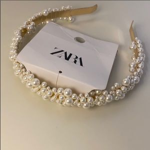 Zara  multi pearl metallic headband NWT